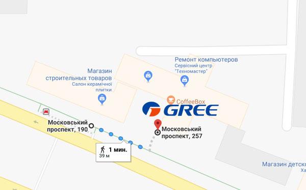 Схема прохода от метро Палац спорту. Кондиционеры Gree Харьков